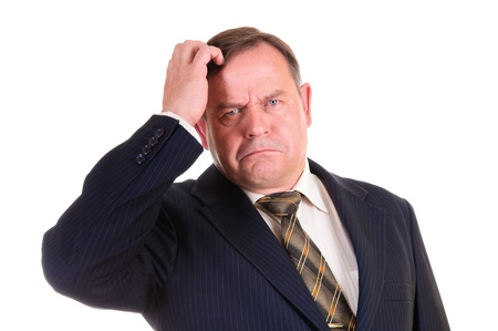 persona confundida: hombre de negocios con gesto confuso en su cara, aislado en blanco