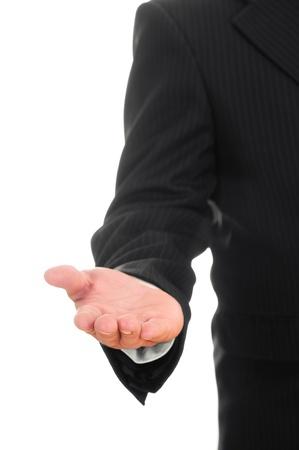 Businessman asking for money  hand symbol