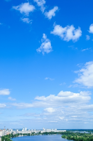 sky with clouds: blue sky with cloud  a city with tall buildings  Kiev  Ukraine Stock Photo