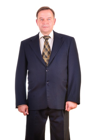 Happy handsome businessman. Isolated over white background photo