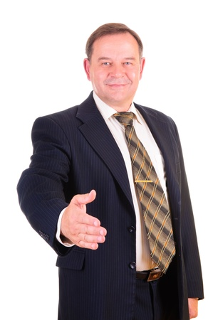 man 40 50: A businessman giving a hand, isolated on white background  Stock Photo