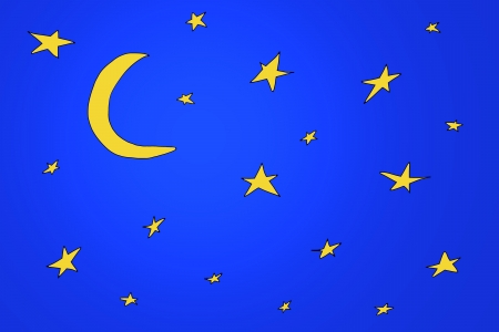 hand-drawn the night sky, the stars and the moon Stock Photo - 16210072