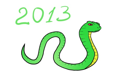 chinese holly: Snake  Happy new year 2013  hand-drawn