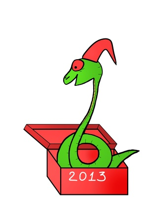 snake in gift box. symbol 2013. drawing by hand. isolated on white background photo