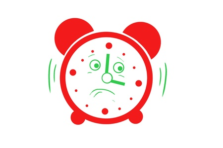 cheerless: drawing a red alarm. cartoon character. isolated on white background Stock Photo