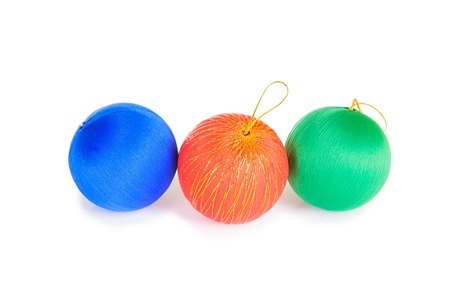 different christmas ball isolated on white background photo