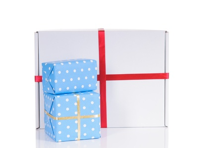 three colorful wrapped presents for Birthday, Christmas or other celebration  photo