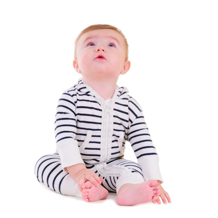 baby boy portrait isolated on white background  boy looking up Stock Photo - 16881048