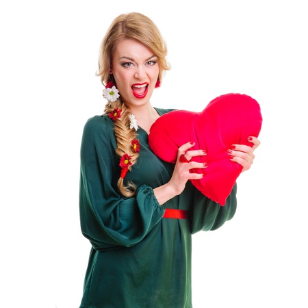 Valentines Day  Woman holding Valentines Day heart sign with copy space  positive portrait  blonde photo