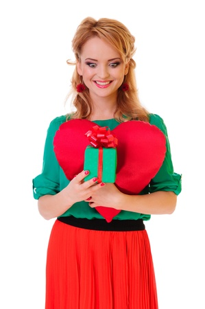 Valentines Day. Woman holding Valentines Day heart and gift box. positive portrait  blonde photo