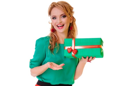 Valentines Day. blonde woman holding Valentines Day gift box. positive portrait isolated photo