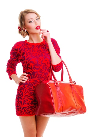 portrait of a fresh beautiful woman with bag - fashion style   isolated on white background Stock Photo