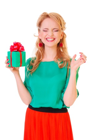 holiday  blonde woman holding  gift box  positive portrait isolated photo