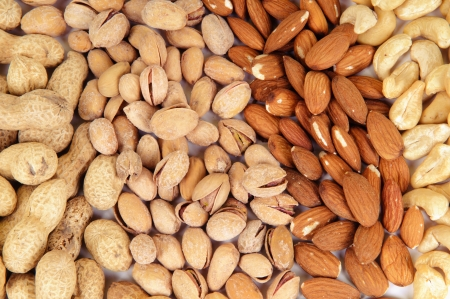 assortment of tasty nuts, close up  photo