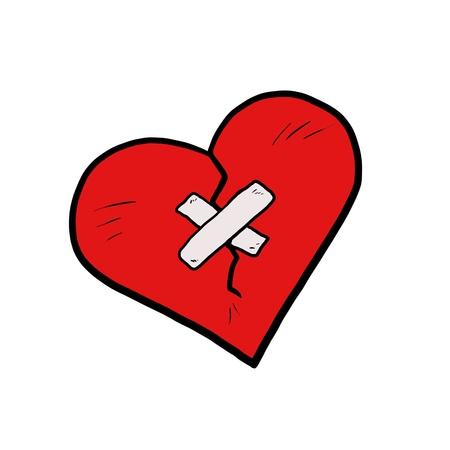valentine cracked heart cartoon isolated on white Stock Photo - 18725081