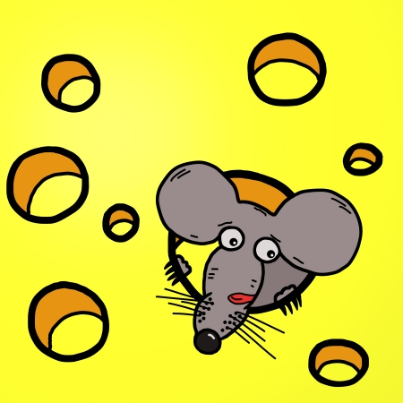 Funny cartoon illustration of mouse-guzzler sits inside to the cheese illustration