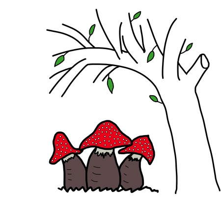 Red poison mushrooms and the tree grows  hand-drawn  isolated on white background Stock Photo - 18725138