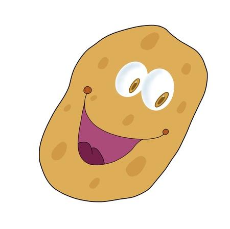 spud: Isolated smiling potato illustration; Cartoon drawing  Stock Photo