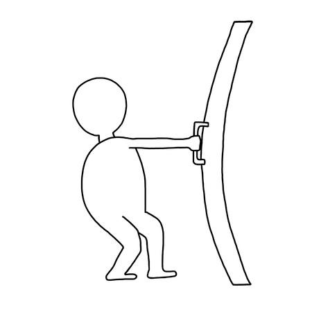 doorhandle: hand-drawn man opens a closed door