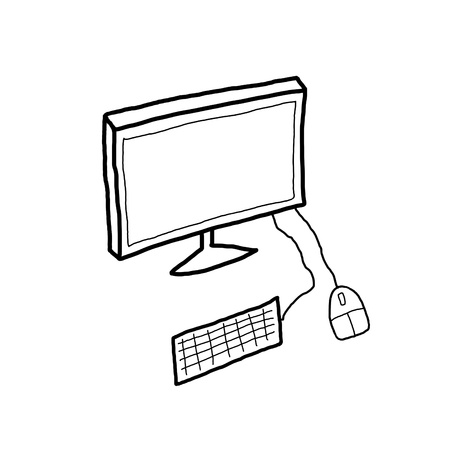 A black and white illustration of desktop PC computer workstation  Monitor illustration