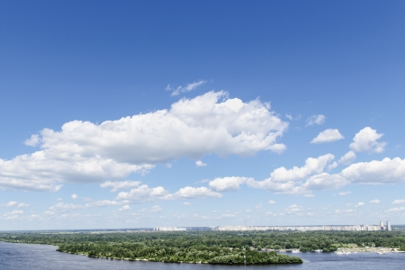 blue sky with cloud and wide river. Kiev. Ukraine photo