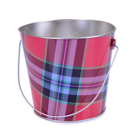 empty iron bucket isolated on white background photo