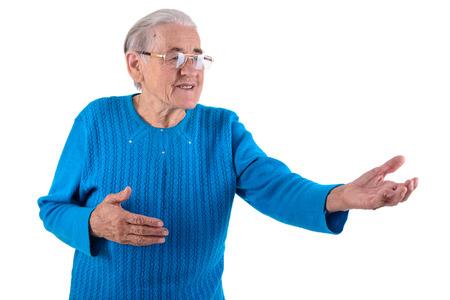 happy senior woman.portrait isolated on white  photo