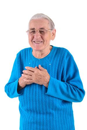 happy senior woman.portrait isolated on white background photo