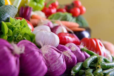 Many different ripe vegetables healthy eating vegetarian