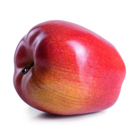 abreast: ripe fruit one apple isolated on white background Stock Photo