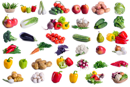 vegetable: collection of lot vegetables isolated on white background. large depth of field of the frame Stock Photo