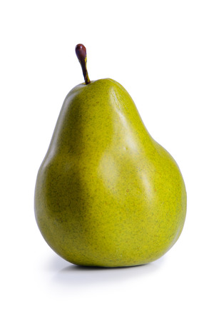 abreast: ripe fruit one pear isolated on white background
