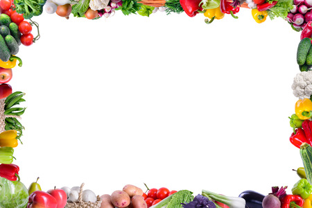 Many different vegetarian vegetables like frame. isolated on white background