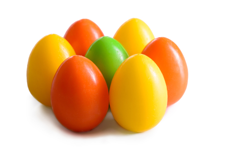 Easter eggs postcard for Christian seasonal holiday Isolated on white Stock Photo