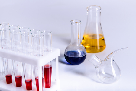 Science laboratory research and development concept microscope with test tubes Laboratory research and equipment chemistry experiment 스톡 콘텐츠