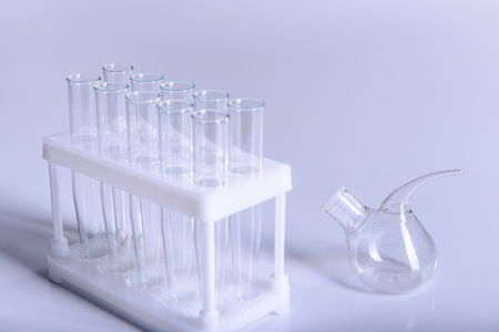 Science laboratory research and development concept microscope with test tubes Laboratory research and equipment chemistry experiment 免版税图像
