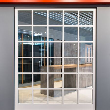 abstract window frame background indoors with transparent glass - new concept design