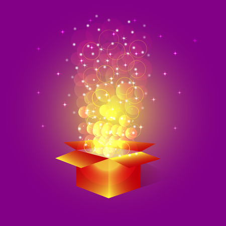 magic box: Bright magic box with stars.Box with surprise for holidays with glitter and confetti. Illustration