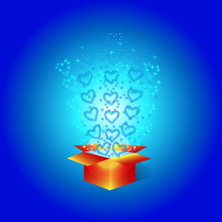 Gift box with hearts. For holidays Valentine's day, birthday, new year, christmas etc.