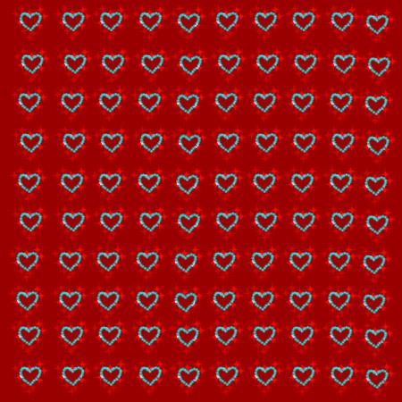 corazones azules: Fondo rojo con los corazones azules. Ilustración del vector.