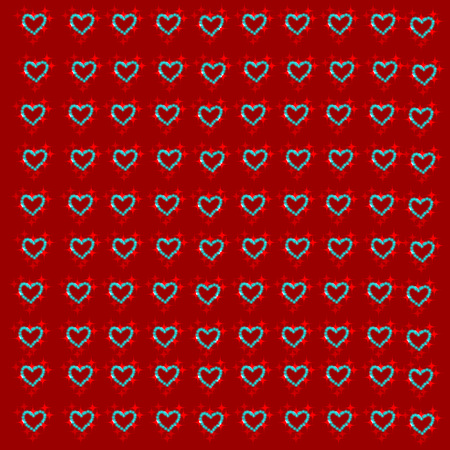 corazones azules: Red background with blue hearts. Vector illustration.