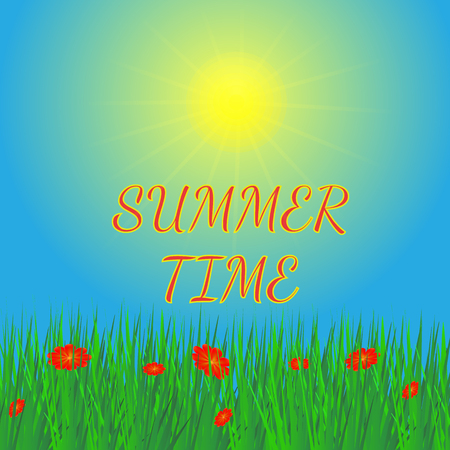 Summer background. Vector illustration. Sky, sun and grass. Background in green, blue and yellow colors. 矢量图像