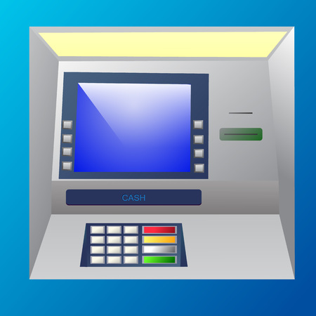 bankomat: Bankomat vector illustration in blue shades. ATM machine for operations with money, front view.