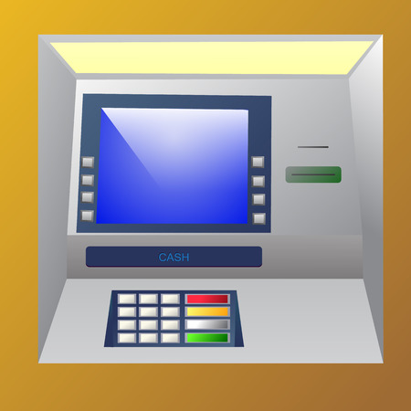 bankomat: Bankomat vector illustration. ATM machine for operations with money, front view. Illustration