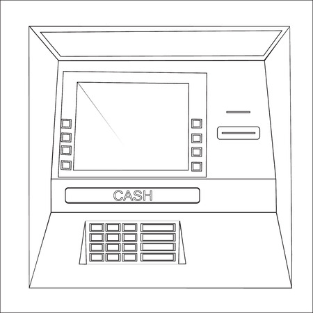 bankomat: Bankomat vector graphic illustration. ATM machine for operations with money, front view. Illustration