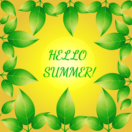 leafs: Background with green leafs in yellow shades. Summer background .