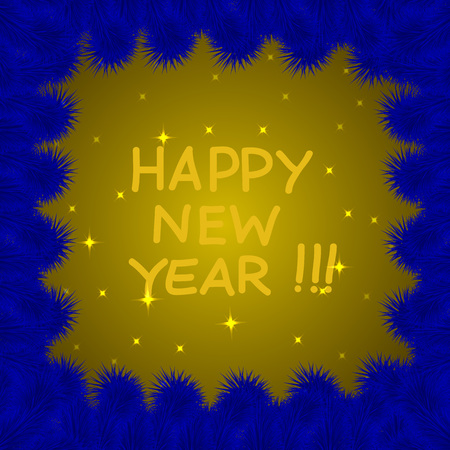 date night: Background with stars in yellow and blue colours for happy new year. Vector illustration. Illustration