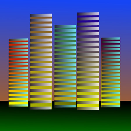 midtown: Stylized background with skyscrapers in differents colours. Illustration. Stock Photo