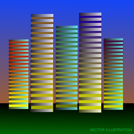 Stylized background with skyscrapers in differents colours. Illustration. Illustration