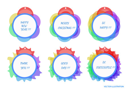 Greetings bright labels with different colors. Vector illustration.